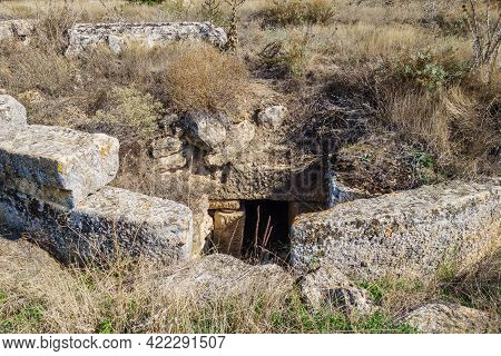 Antique Underground Crypt, Built In Form Of Tumulus. It's Made Of Travertine. To Get Inside You Shou