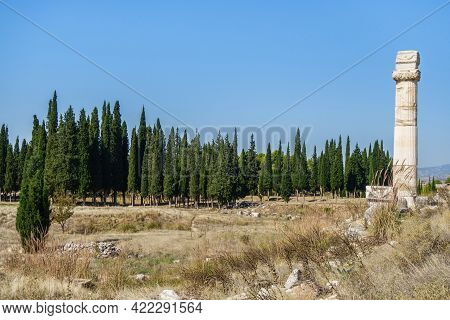 Panorama Of Former Agora In Antique City Hierapolis, Pamukkale, Turkey. There Are Lonely Column With