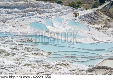 Panorama Of Travertine Terraces, Pamukkale, Turkey. Unusual White Snow Color Of Pools & Sky Blue Col