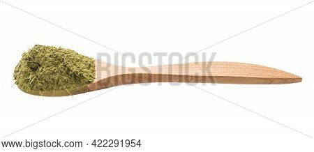 Milled Stevia Rebaudiana Herb (natural Sugar Substitute) In Wooden Spoon Isolated On White Backgroun