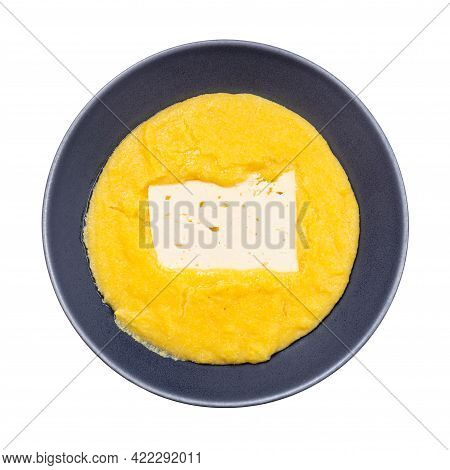 Top View Of Cooked Maize Porridge With Piece Of Brined Cheese In Gray Bowl Isolated On White Backgro