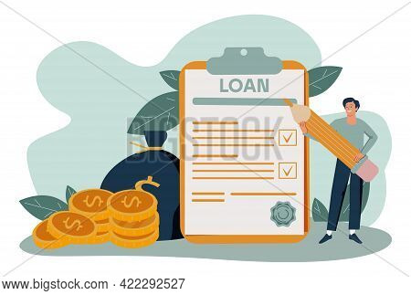 Banking Documents Abstract Concept Vector Illustrations.  Taxes Vector Illustration. Flat Tiny Pers