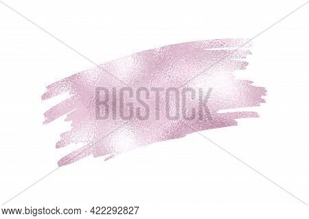 Dusty Gold Rose Foil Paintbrush Design Element. Violet Sparkle Glossy Sparkle Brush Scribble. Vector