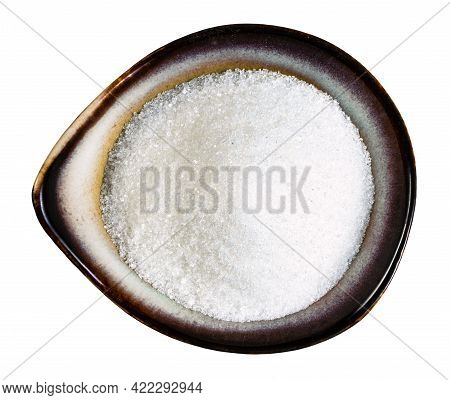 Top View Of White Refined Beet Sugar In Ceramic Bowl Isolated On White Background