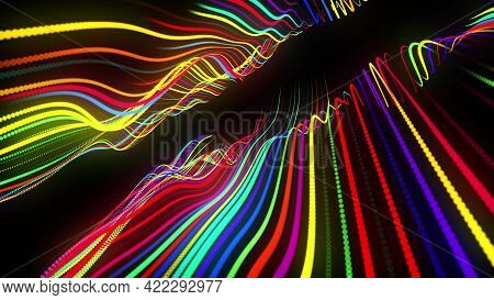 3d Render. Motion Design Background. Festive Bg With Multicolored Particles. Abstract 3d Bg With Glo