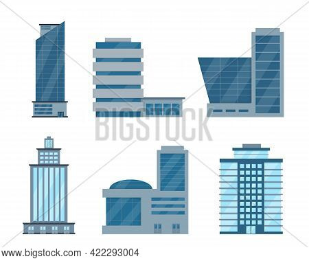 Facades Of Modern City Buildings Icons Isolated On White Background. Office Centers Or Business Hous