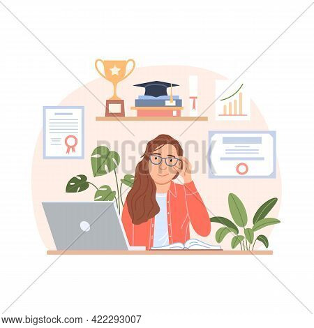 Skills Development Concept. Flat Business Woman With Computer On Workplace Background With Diploma,