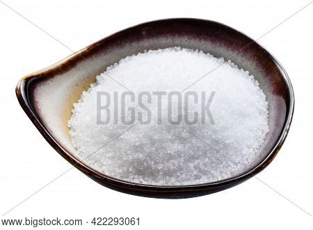 Fructose Sugar Sweetener In Ceramic Bowl Isolated On White Background