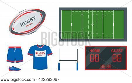 Rugby Equipment Set. Ball, Gate, Clothing, Scoreboard And Court For Playing Rugby. Elements And Acce