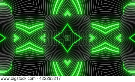 Geometric Abstract Background. Abstract Symmetrical Composition, Green Gray 3d Elements. 3d Render A
