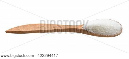 White Refined Beet Sugar In Wooden Spoon Isolated On White Background