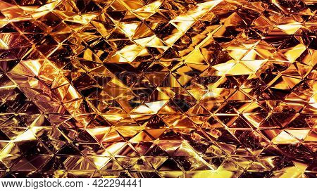 Abstract Background With Wavy Sparkling Golden Liquid Pattern On Shiny Glossy Surface. Viscous Yello