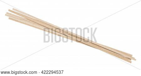 Few Dried Flat Soba Noodles From Buckwheat Flour Isolated On White