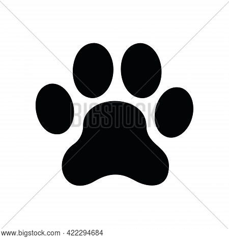 Dog Paw Icon. Black Silhouette Of Canine Footprint Isolated On White Background. Vector Illustration
