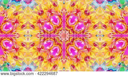 3d Render. Liquid Wavy Pattern Like Kaleidoscope Multicolored Waves. 3d Stylish Abstract Bg, Wavy Sy
