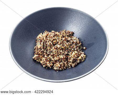 Boiled Porridge From Blend Of Quinoa Grains In Gray Bowl Isolated On White Background