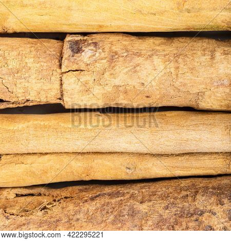 Square Food Background - Several Sticks Of Continental Ceylon Cinnamon Close Up