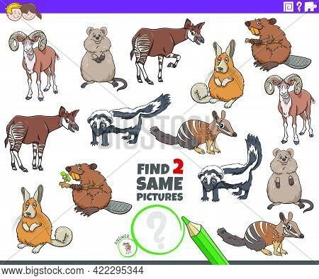 Cartoon Illustration Of Finding Two Same Pictures Educational Game With Comic Wild Animals Character