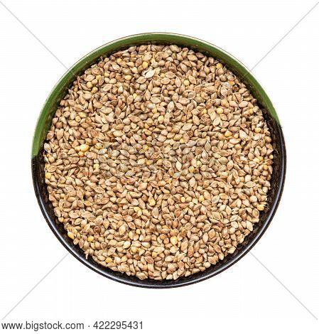 Top View Of Whole-grain Barnyard Millet Seeds Seeds In Round Bowl Isolated On White Background