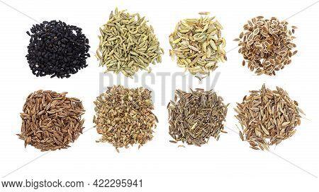 Piles Of Various Cumin Like Fruits (nigella, Anise, Fennel, Dill, Caraway, Ajwain, Elwendia, Cumin)