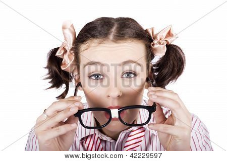 Visual Impaired Woman Trying To Read With Glasses