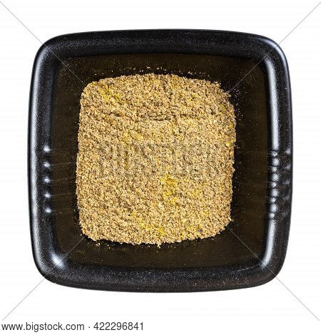 Top View Of Georgian Khmeli Suneli Flavoring In Black Bowl Isolated On White Background