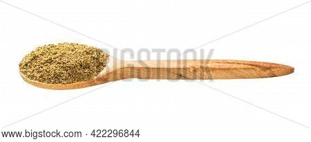 Wooden Spoon With Georgian Khmeli Suneli Flavoring Isolated On White Background