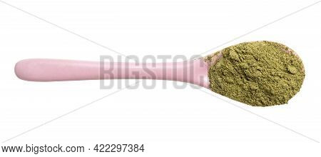 Top View Of Milled Stevia Rebaudiana Herb (natural Sugar Substitute) In Pink Ceramic Spoon Isolated