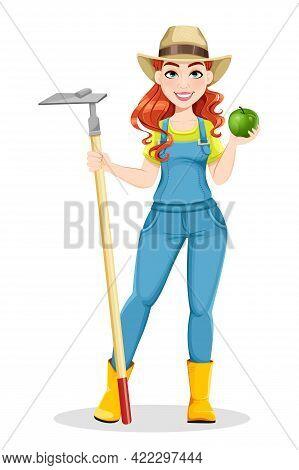 Beautiful Woman Farmer Holding Hoe. Cute Girl Farmer Cartoon Character. Stock Vector Illustration On