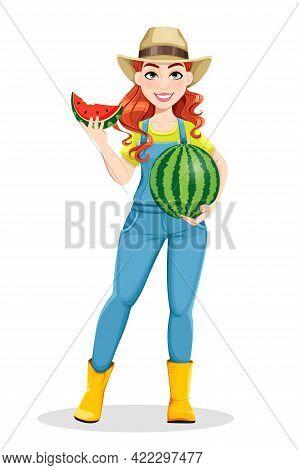 Beautiful Woman Farmer Holding Tasty Watermelon. Cute Girl Farmer Cartoon Character. Stock Vector Il