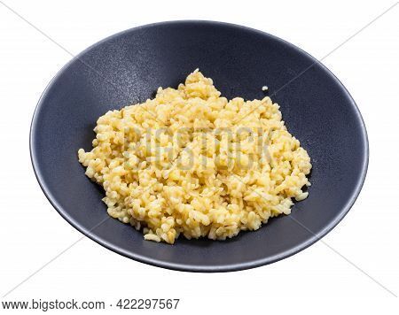 Wheat Bulgur Porridge In Gray Bowl Isolated On White Background