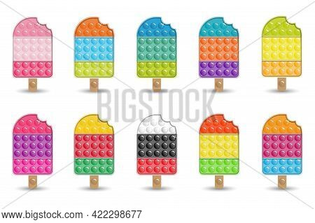 Set Of Antistress Toys Fidget Sensory Pop It Ice Cream.  Multicolored Shiny Toys With Shadows And Fl
