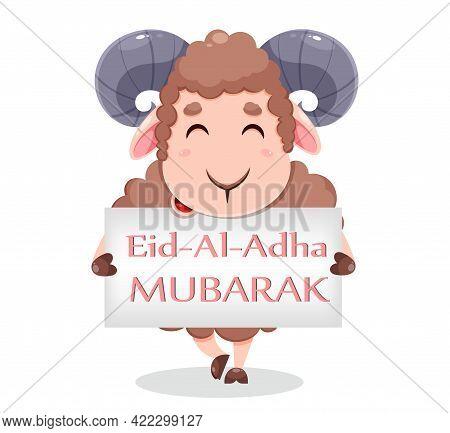 Eid Al Adha Mubarak Greeting Card With Cartoon Sacrificial Sheep For The Celebration Of Muslim Tradi