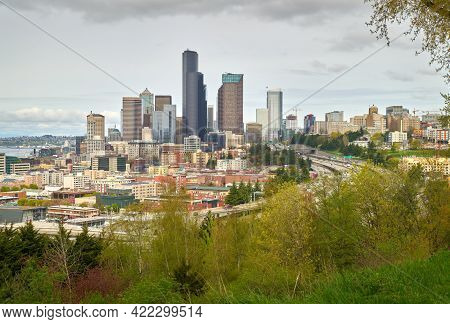 Downtown Seattle Skyline And Freeway. Downtown Seattle Skyline With The Interstate 5 Freeway Passing