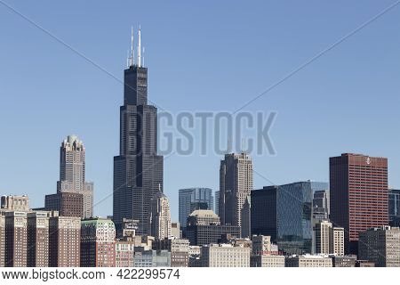 Chicago - Circa May 2021: Chicago Downtown Skyline From Lake Michigan On A Sunny Day. The Windy City