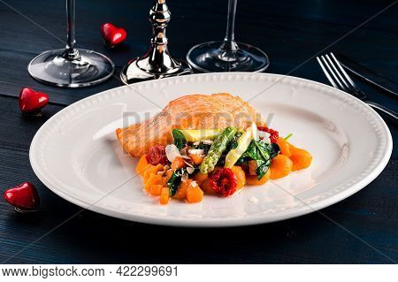 Steam Salmon And Vegetables, Paleo, Keto, Fodmap Diet On Old Rustic Wooden Table