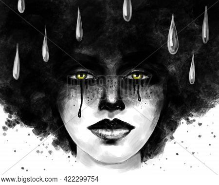 Depression Anxiety And Tears. Art Portrait Of A Crying Woman With A Lush Hairstyle And Tears In Her