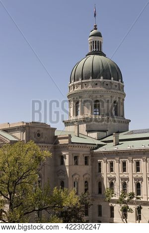 Indianapolis - Circa May 2021: Indiana State House And Capitol Dome. It Houses The Governor, Assembl