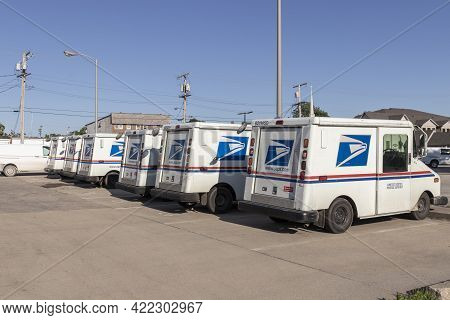 Monticello - Circa May 2021: Usps Post Office Mail Trucks. The Post Office Is Responsible For Provid