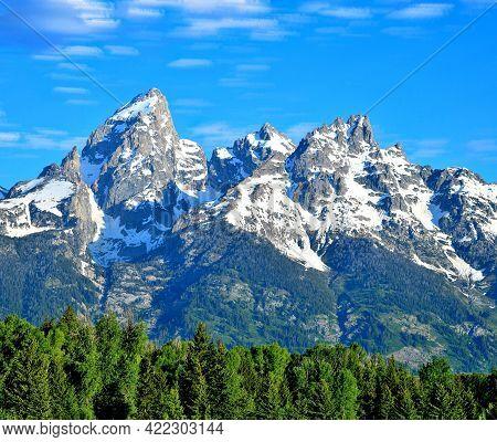 Snow Capped Grand Teton  Mountains,  Grand Teton National Park Mountains, Wyoming.