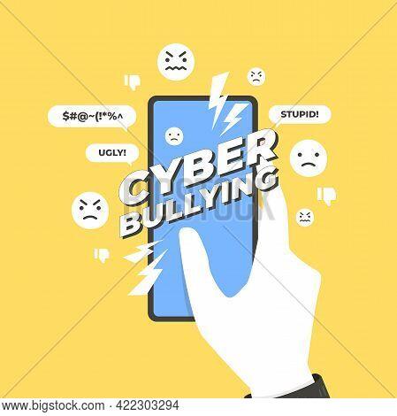 Cyber Bullying Concept. Hands Holding Smart Phone With Cyber Bullying Message.