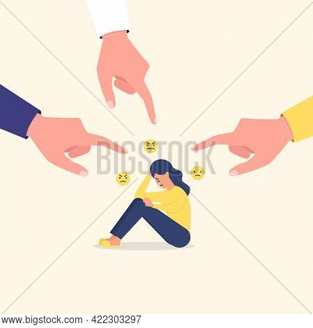 Hands Of Accuser Pointing To Sad Woman Sitting Alone. Social Media Bullying, Cyber Bullying.