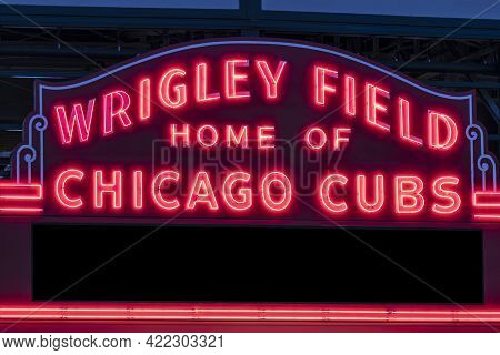 Chicago - Circa May 2021: Wrigley Field Home Of Chicago Cubs In Red Neon Lights With Copy Space. Wri