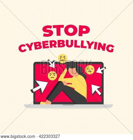 Stop Cyberbullying Text With Sad Woman Sitting On Laptop. Social Media Bullying, Cyber Bullying.