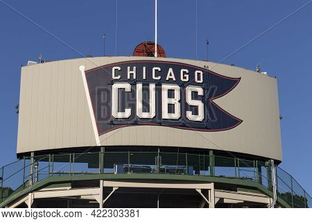 Chicago - Circa May 2021: Chicago Cubs Center Field Marquee On The Northwest Corner Of Wrigley Field