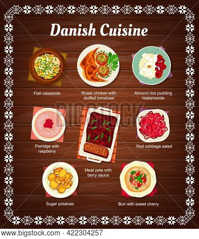 Danish Cuisine Food Menu, Dishes And Meals Of Traditional Denmark Restaurant, Vector. National Danis