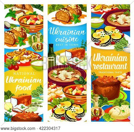 Ukrainian Cuisine Vector Traditional Lard With , Chicken Noodle And Smazhenina With Herring. Kherson