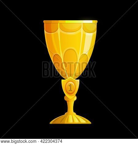 Winner Golden Cup Interface Icon, Vector Gold Trophy With Number One Emblem. Goblet For First Place