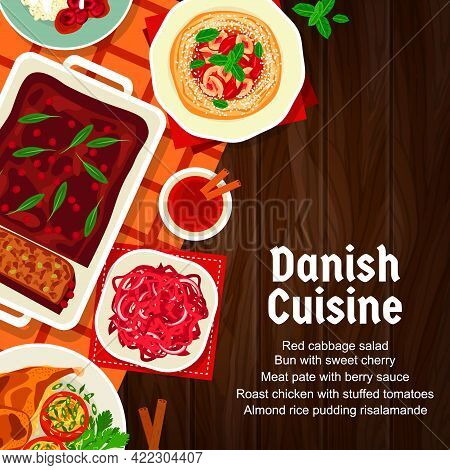 Danish Food Menu Cover, Restaurant Dishes And Meals, Vector Traditional Denmark Cuisine. Danish Cuis