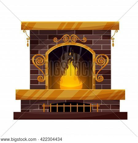 Home Interior Brick Fireplace With Burning Fire, Forgery Decor And Grating. Vector Traditional Indoo